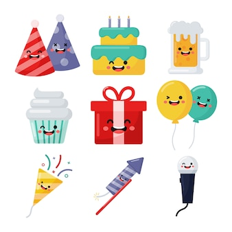 Set of cute funny birthday icons.