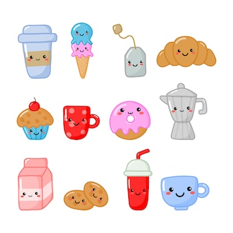 Set of cute funny breakfast food and drinks kawaii style icons isolated