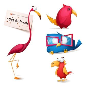 Set cute funny cartoon characters