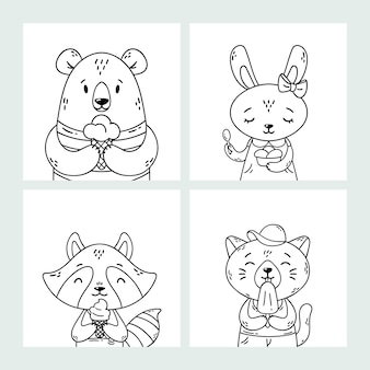 Set of cute funny cartoon summer animals. bear, rabbit, raccoon and cat eating ice cream, licking popsicle, cone. coloring page. black and white art.