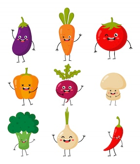 Set of cute funny cartoon vegetable characters kawaii style icons isolated on white.