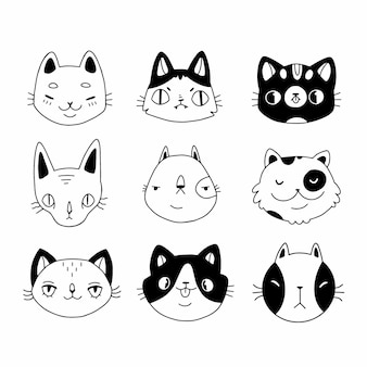 Set of cute funny cat heads in doodle style
