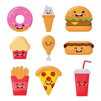 Set of cute funny fast food kawaii style icons isolated on white