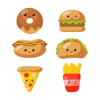 Set of cute funny fast food kawaii style icons isolated on white .