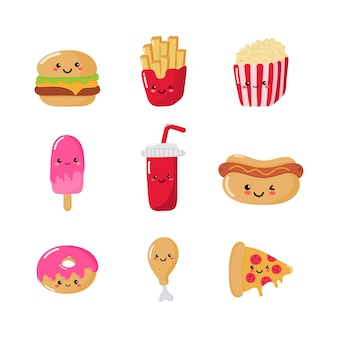 Set of cute funny fast food kawaii style icons isolated