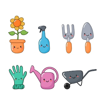 Set of cute funny garden tools icons kawaii style icons isolated