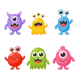 Set of cute funny monster cartoon isolated on white background.