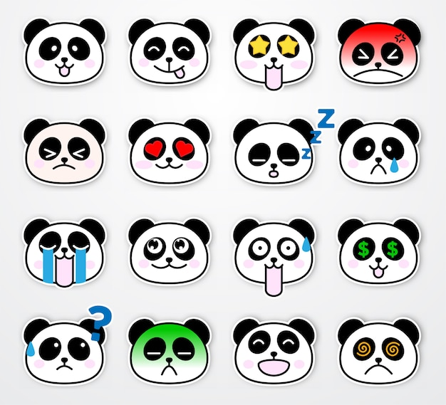 Set of cute and funny panda emotion sticker template