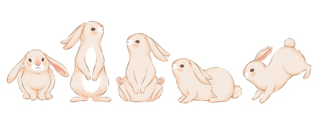 Set of cute funny rabbits in different poses. imitation of handmade watercolor. isolated on a white background.