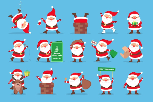Set of cute funny santa claus in glasses celebrating christmas and new year. happy santa with bag having fun.  illustration