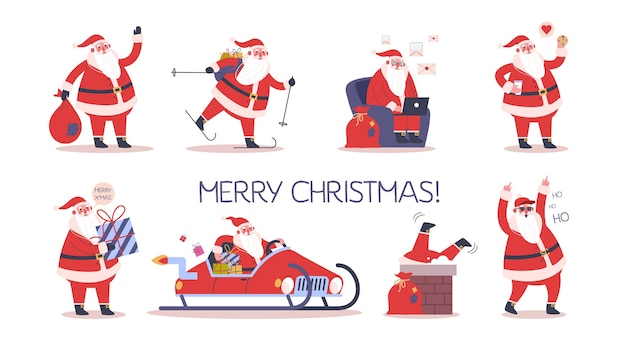 Set of cute funny santa claus in glasses celebrating christmas and new year. happy santa with bag and presents, skiing and having fun. santa using a notebook. modern santa claus.  illustration