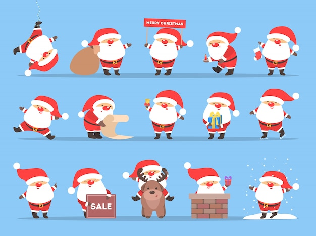 Set of cute funny santa claus in red clothes celebrating christmas and new year. happy santa with bag having fun.   illustration