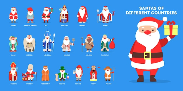 Set of cute funny santa claus wearing national costumes.