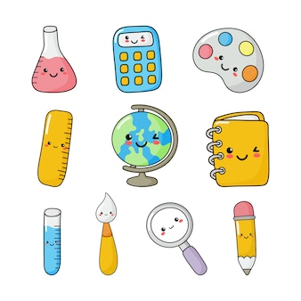 Set of cute funny school supplies kawaii style. calculator, magnifier, pens, brush, ruler, notebook, globe, and others. education items isolated