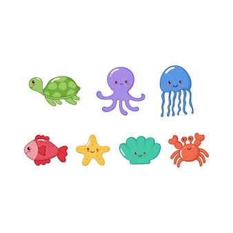 Set of cute funny sea animals cartoon isolated