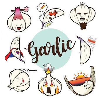 Set cute garlic cartoon character