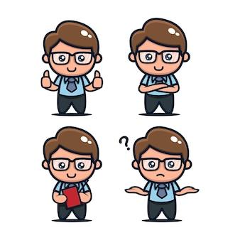 Set of cute geek nerd mascot design icon illustration