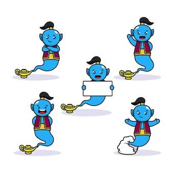 Set of cute genie in the bottle mascot