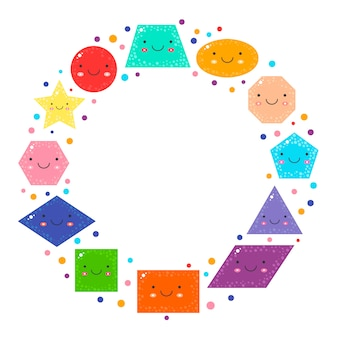 Set cute geometric figures for kids
