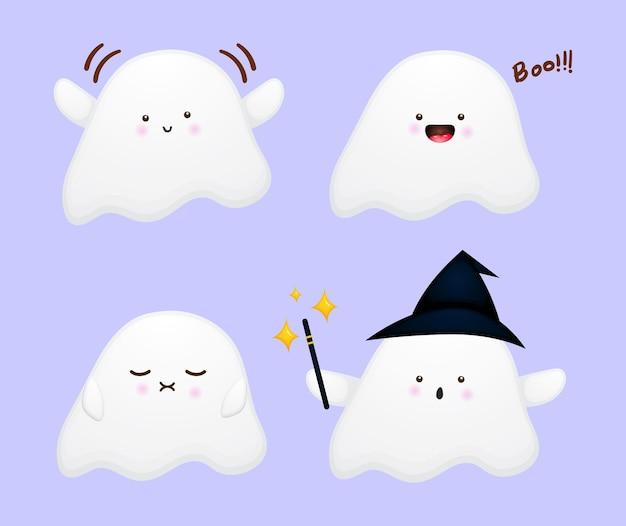 Set of cute ghost cartoon character premium vector