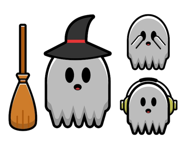 Set of cute ghost character. halloween concept