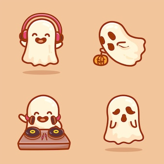 Set of cute ghost characters, flying, using headphone, playing disc jokey and haunting. cartoon vector