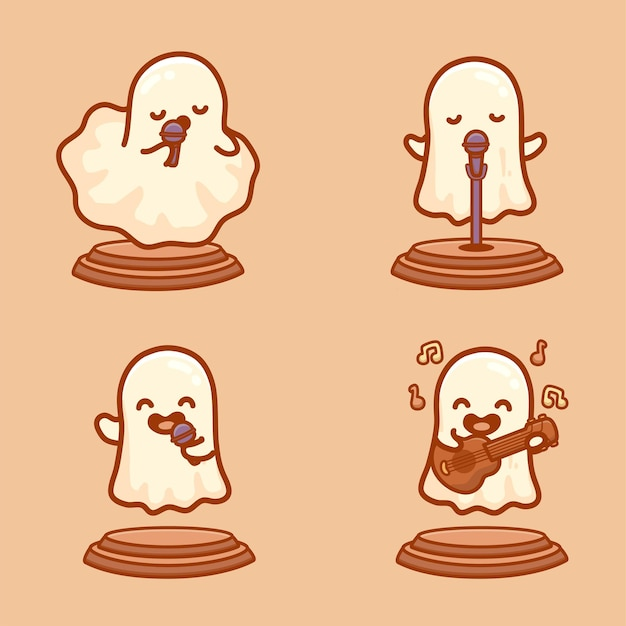Set of cute ghost characters singing and playing guitar on stage. halloween competition event music vector