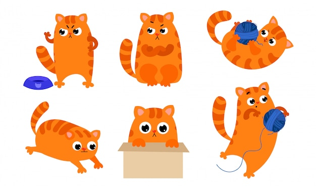 Set of the cute ginger cat with different emotions in various action situations.