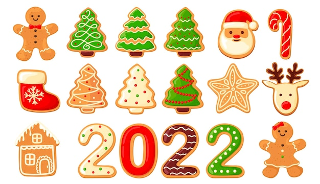 Set of cute gingerbread cookies for christmas. isolated on white background. vector illustration.