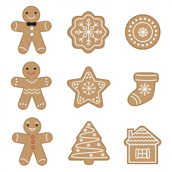 Set of cute gingerbread cookies.