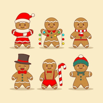 Set of cute gingerbread with christmas costume