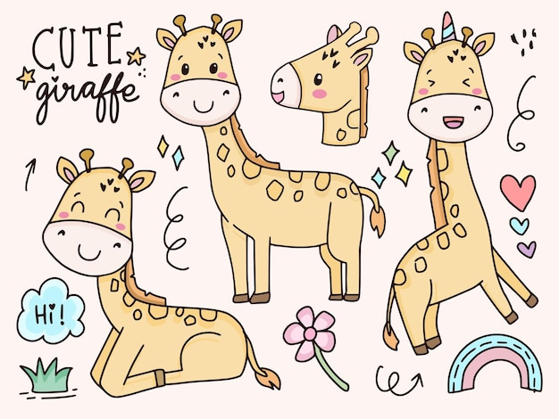 Set of cute giraffe illustration drawing cartoon for kids and baby Premium Vector
