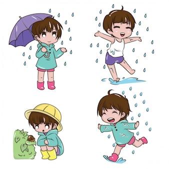 Set cute girl to be happy on rainy season