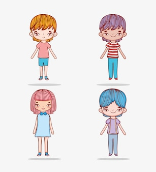Set cute girl and boys with casual clothes