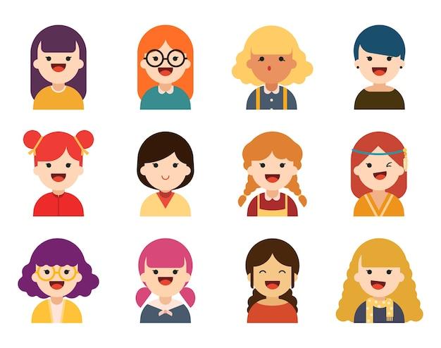 Set of cute girl characters.