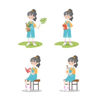 Set cute girl children poses reading book plants bundle collection illustration