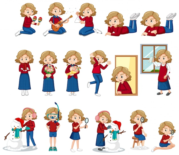Set of cute girl doing different activities