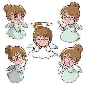 Set cute girl in fairy costume. character cartoon