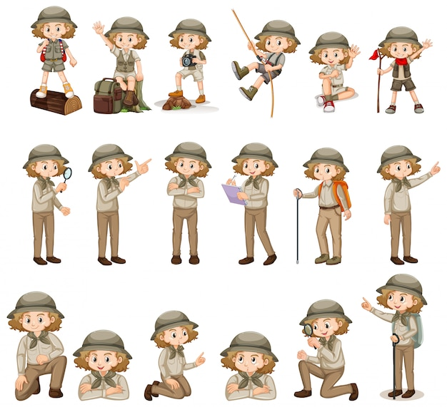 Set of cute girl in safari outfit doing many activities