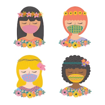 Set cute girl wearing face mask with flowers flat pop color character vector