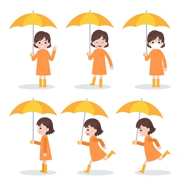 Set of cute girl wearing orange raincoat holding yellow umbrella run