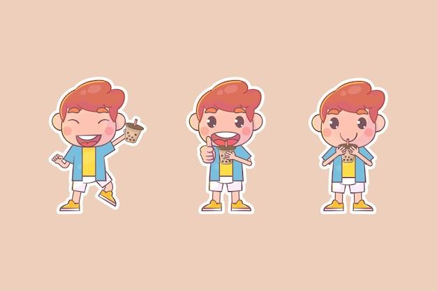 Set of cute girl with boba kawaii