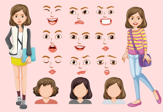 Set of cute girl with different facial expression
