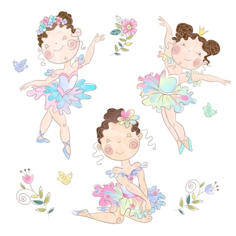 Set of cute girls ballerinas. vector.