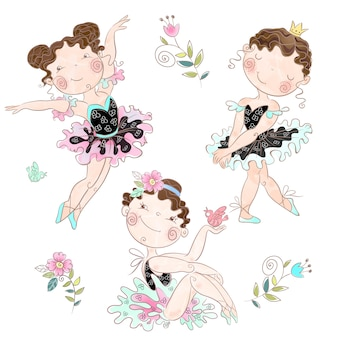 Set of cute girls ballerinas..