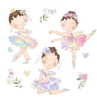 Set of cute girls ballerinas