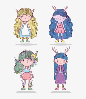 Set cute girls fantastic creatures with hairstyle