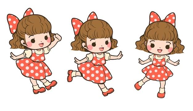 Set of cute girls in polka dot dress