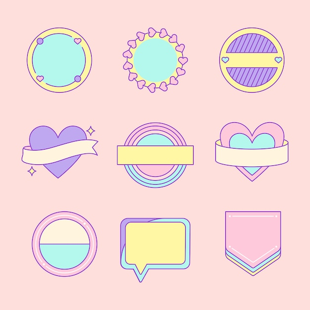 Set of cute and girly badge vectors