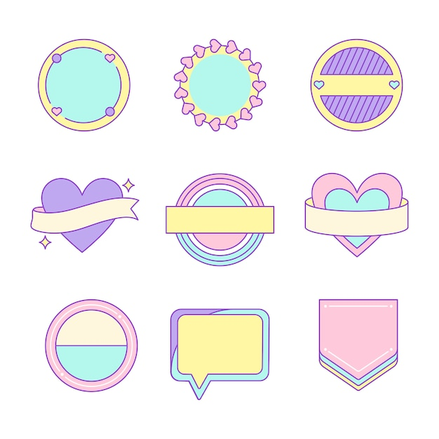 Set of cute and girly badge